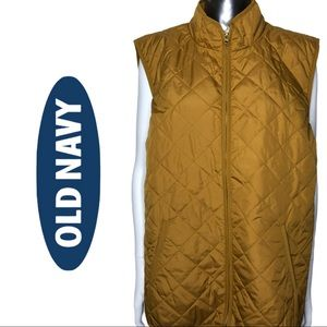 Old Navy Mustard Yellow Quilted Front Zipper